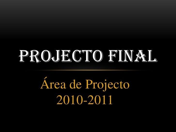 Área de Projecto 2010-2011<br />Projecto Final<br />