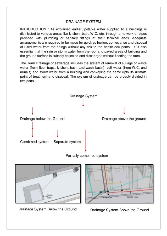 Project on drainage system vartika khandelwal i d for Below ground drainage systems explained