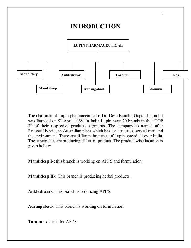1                            INTRODUCTION                              LUPIN PHARMACEUTICALMandideep               Anklesh...