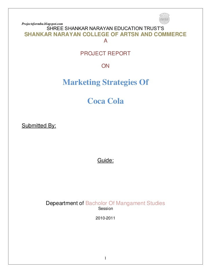 Project on marketing strategies of coca cola