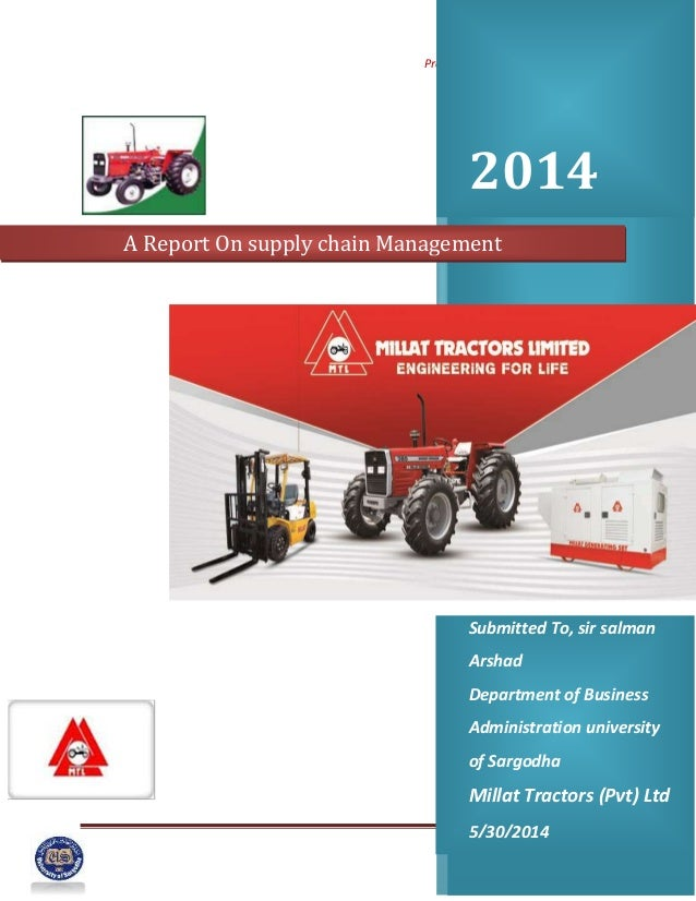 Project on Supply chain Management Page 1 2014 Submitted To, sir salman Arshad Department of Business Administration unive...
