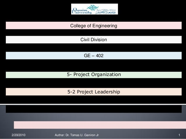 College of Engineering                                  Civil Division                                    GE – 402        ...