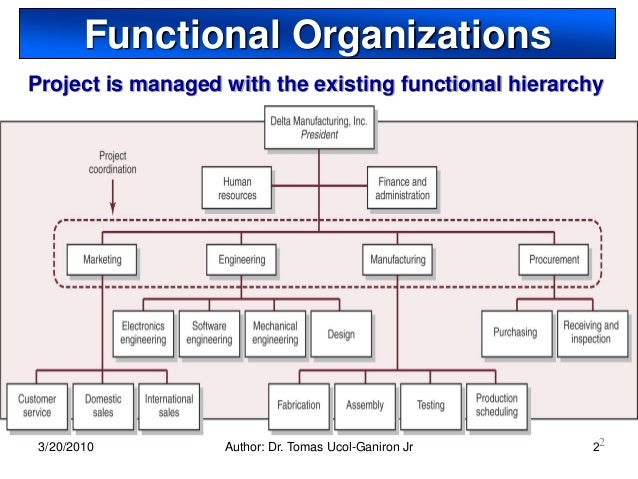 project organization and structure      functional organizationsproject is