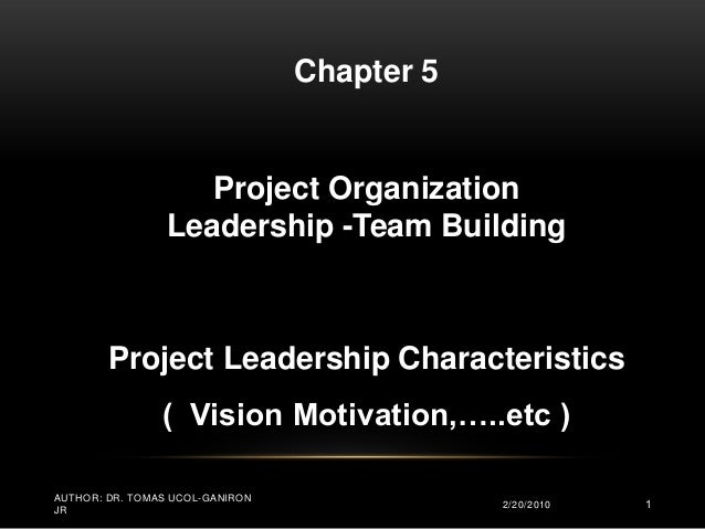 Chapter 5                    Project Organization                 Leadership -Team Building        Project Leadership Char...