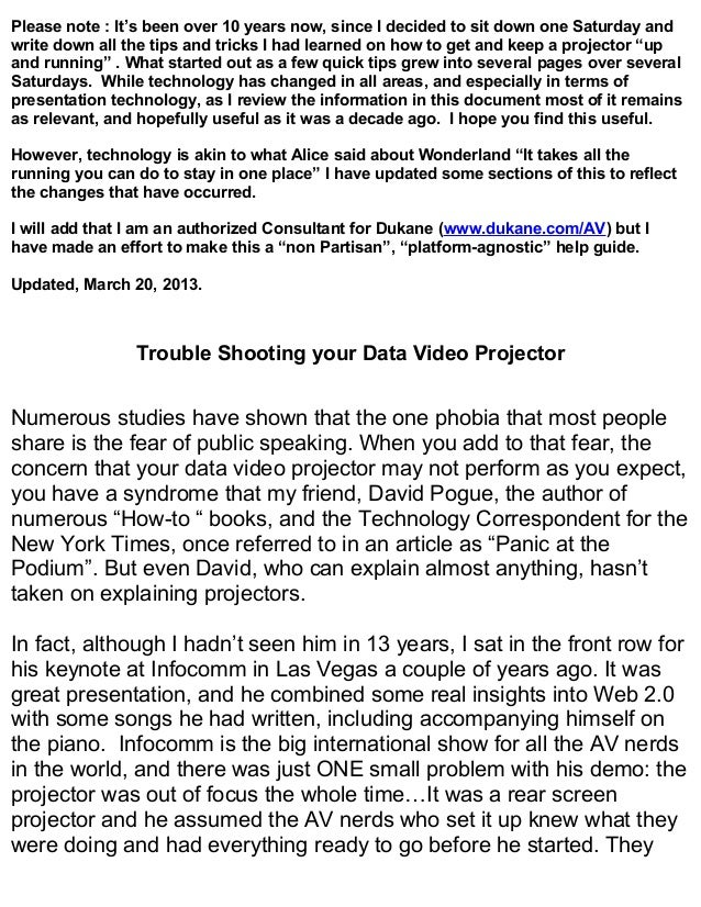 Projector troubleshooting 2013