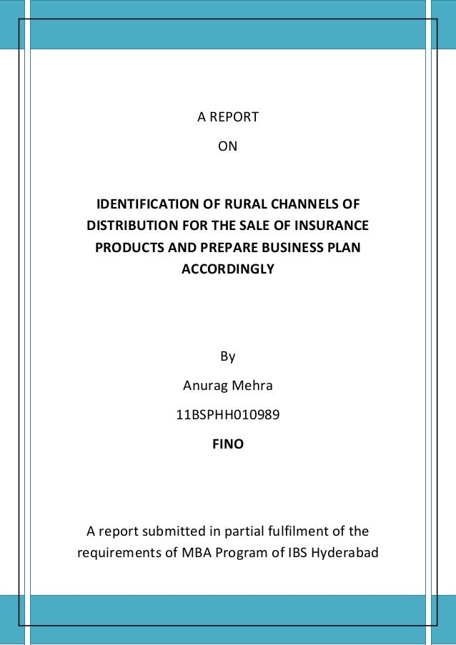 A REPORT                                         ON         IDENTIFICATION OF RURAL CHANNELS OF        DISTRIBUTION FOR TH...