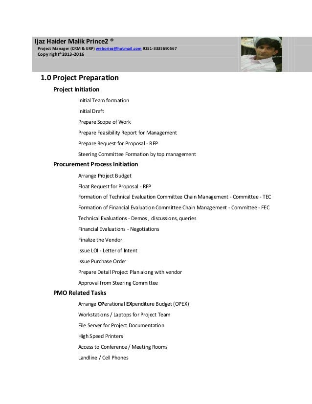 Project Plan ERP Sample by ijaz haider malik weboriez@hotmail