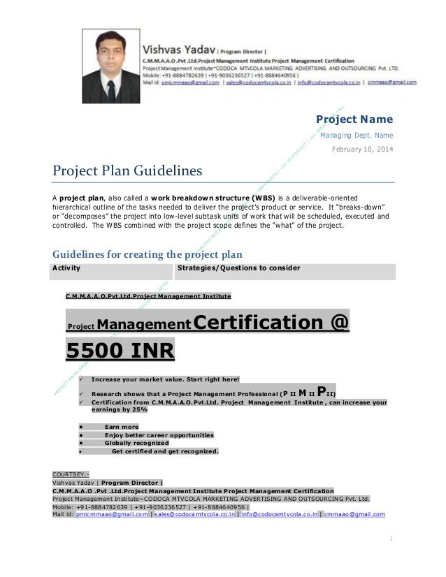 Project Name Managing Dept. Name February 10, 2014  Project Plan Guidelines A project plan, also called a work breakdown s...