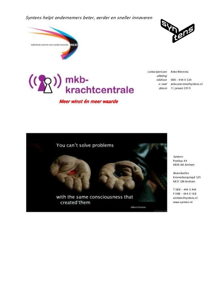 Projectplan Mkb Krachtcentrale