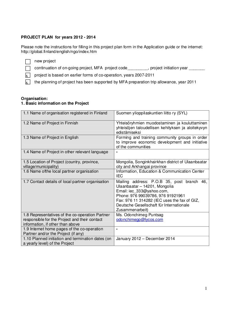 PROJECT PLAN for years 2012 - 2014Please note the instructions for filling in this project plan form in the Application gu...