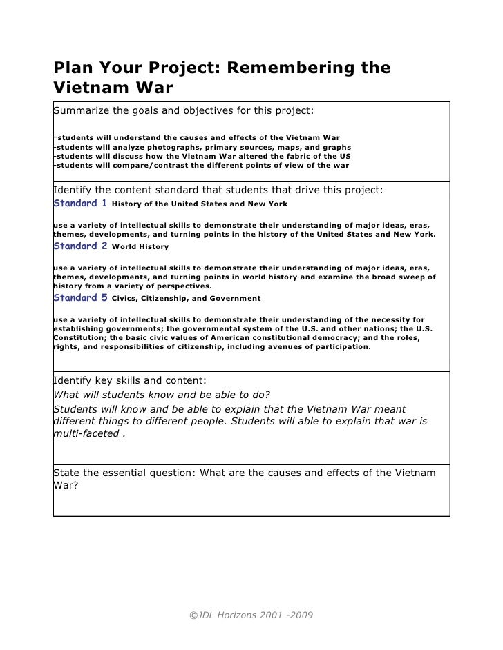 Plan Your Project: Remembering the Vietnam War Summarize the goals and objectives for this project:  -students will unders...