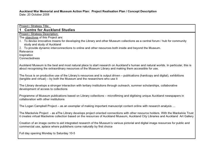 Auckland War Memorial and Museum Action Plan: Project Realisation Plan / Concept Description Date: 20 October 2008   Proje...