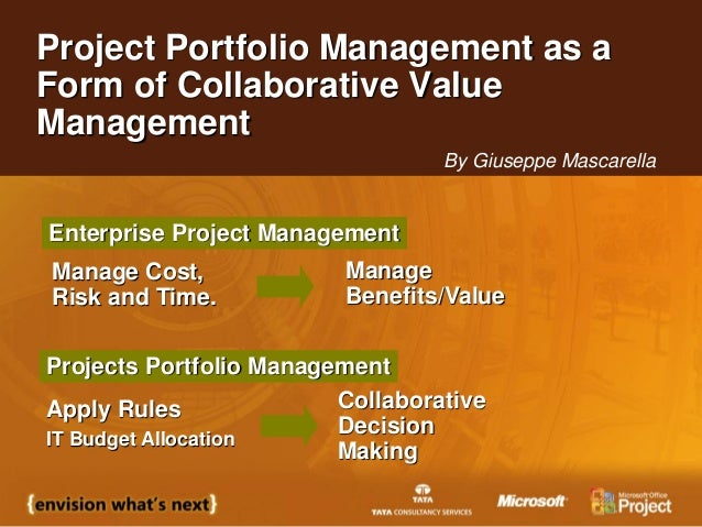 Project Portfolio Management as aForm of Collaborative ValueManagementApply RulesIT Budget AllocationCollaborativeDecision...