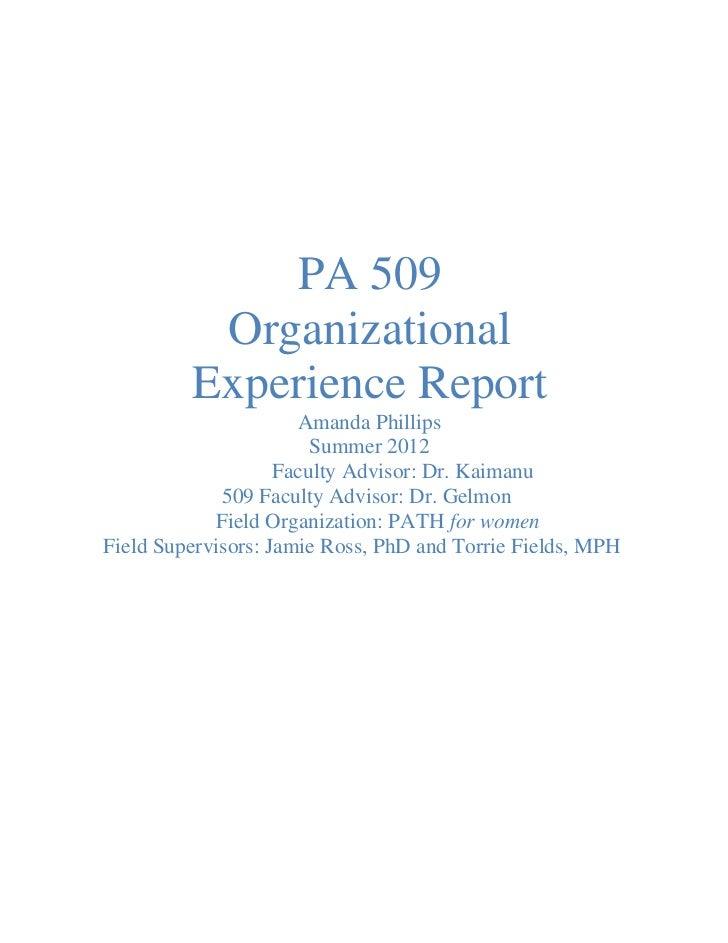 509 Organizational Experience