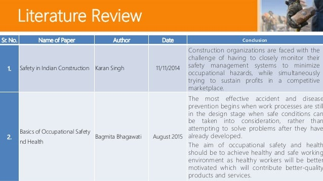 Literature review safety construction industry