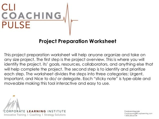 Project Preparation Worksheet