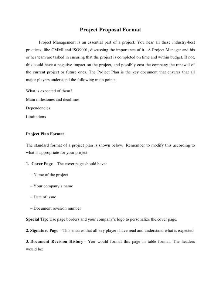Project Proposal Format       Project Management is an essential part of a project. You hear all these industry-bestpracti...