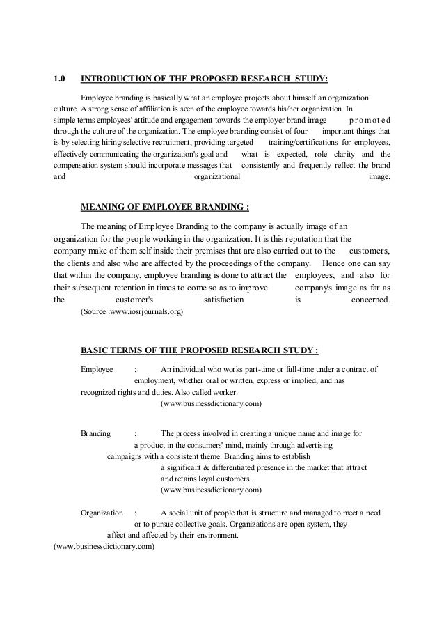 Research proposal on branding strategy