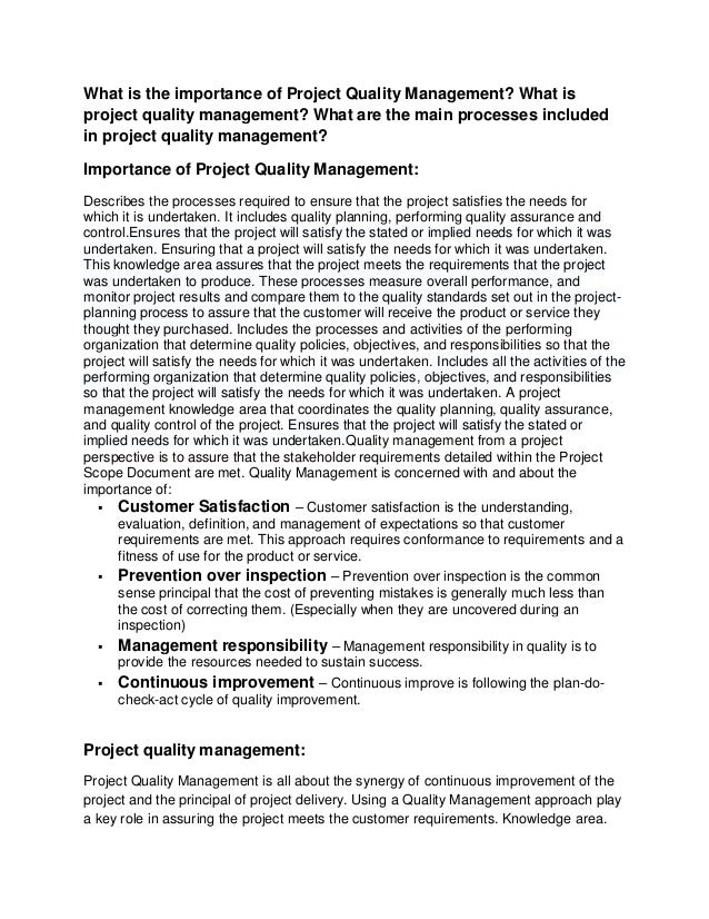 project quality management essay Project management essay examples challenges of external relationships and their impact on project and quality management within the line contractor industry.