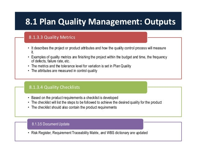 Examples of quality metrics Quality Management Plan Template