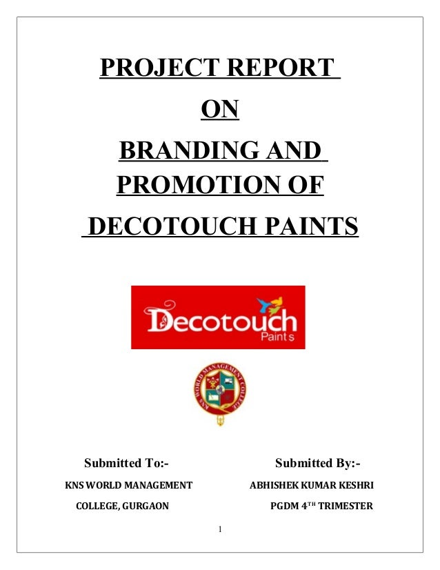 PROJECT REPORT ON BRANDING AND PROMOTION OF DECOTOUCH PAINTS Submitted To:- Submitted By:- KNS WORLD MANAGEMENT ABHISHEK K...