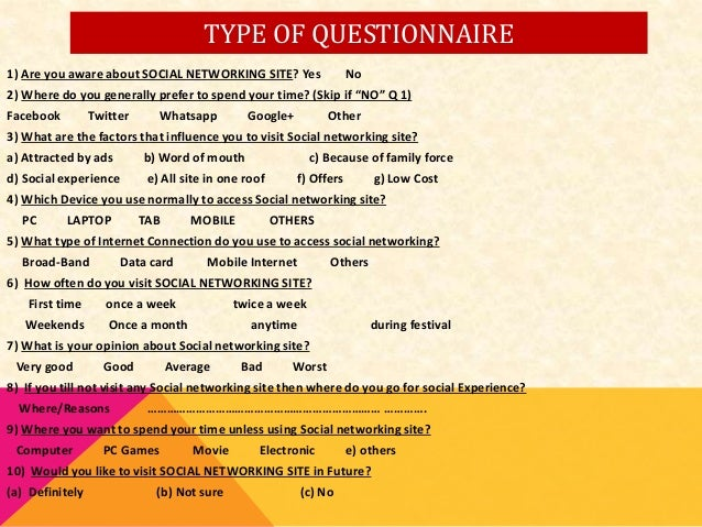 Social Networking Questionnaire?