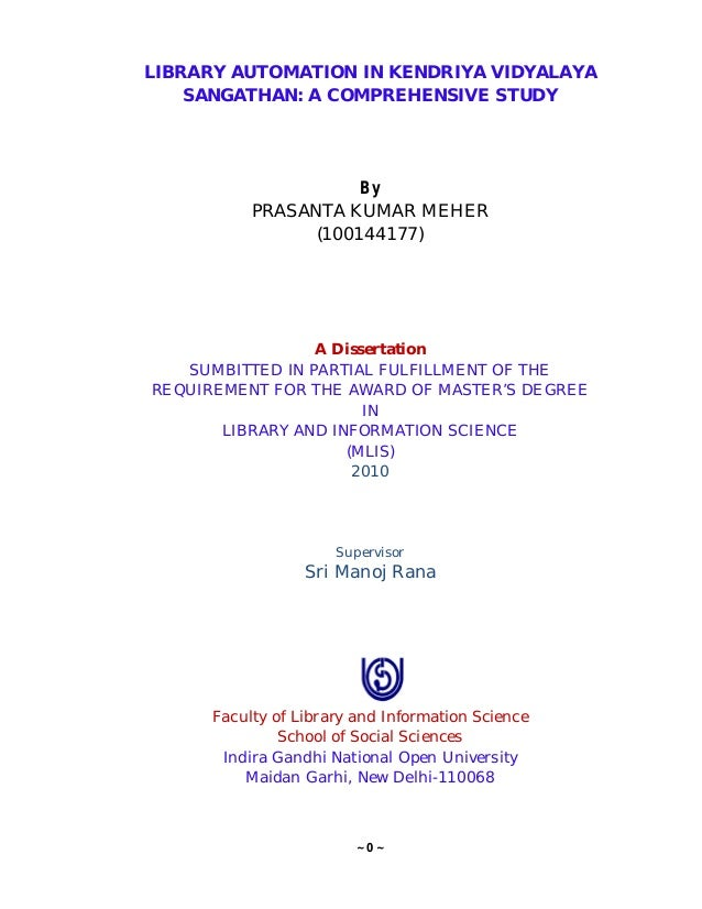 Dissertation on library automation