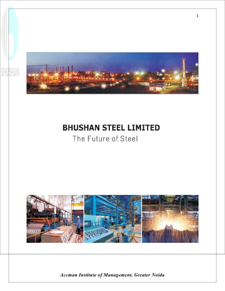 Project Report On Bhushan Steel By Mohit Khurana 2003