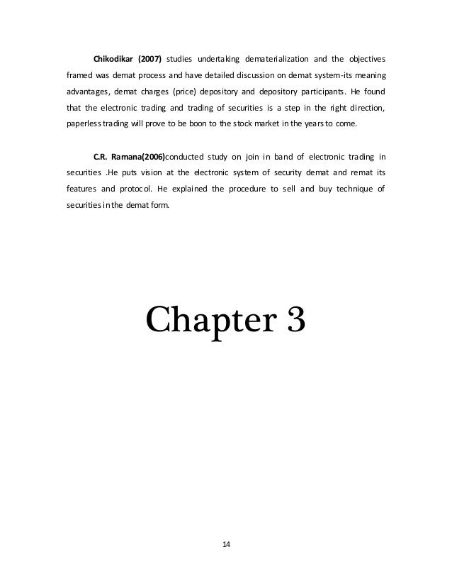 Dissertation report on dematerialisation of shares