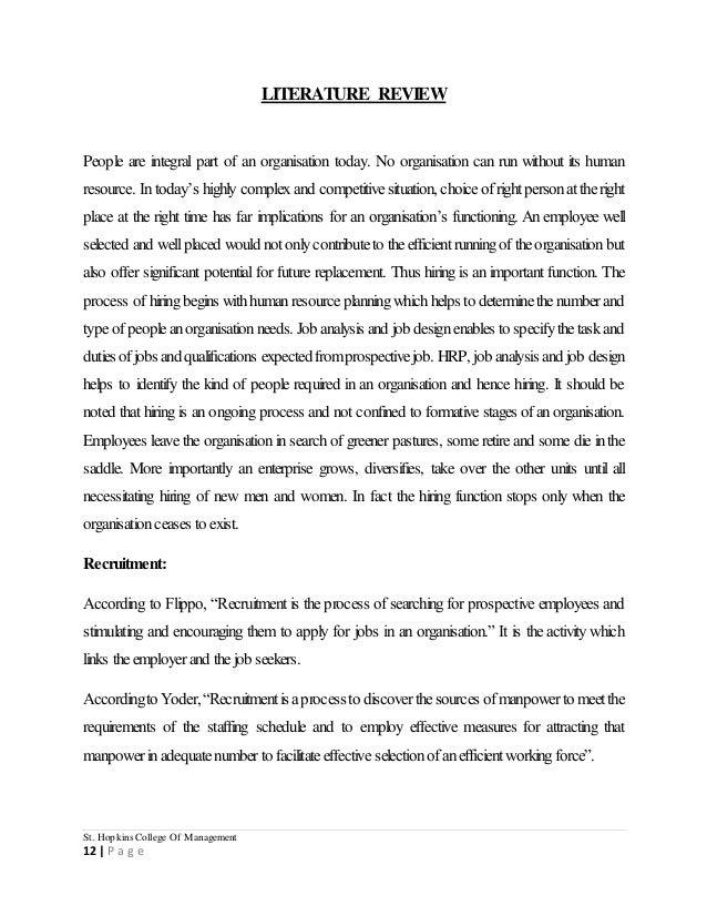 Literature review recruiment methods