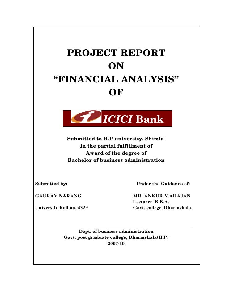 "PROJECT REPORT                   ON          ""FINANCIAL ANALYSIS""                   OF                                    ..."