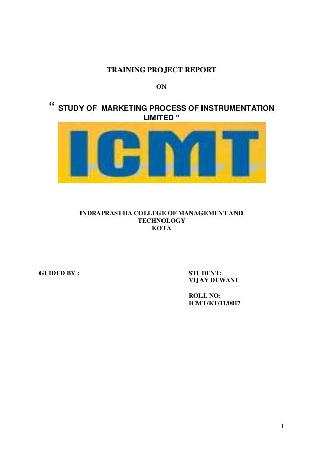 """TRAINING PROJECT REPORT                               ON  """" STUDY OF      MARKETING PROCESS OF INSTRUMENTATION            ..."""