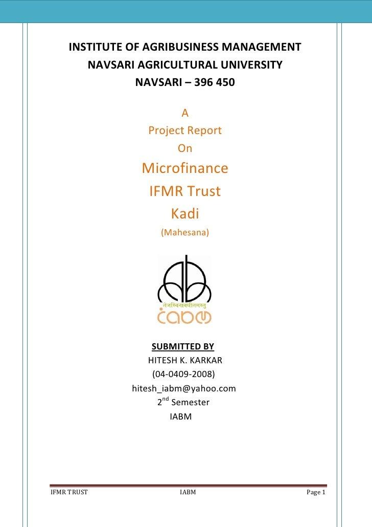 Project Report on Microfinance (IFMR Trust  Kadi)