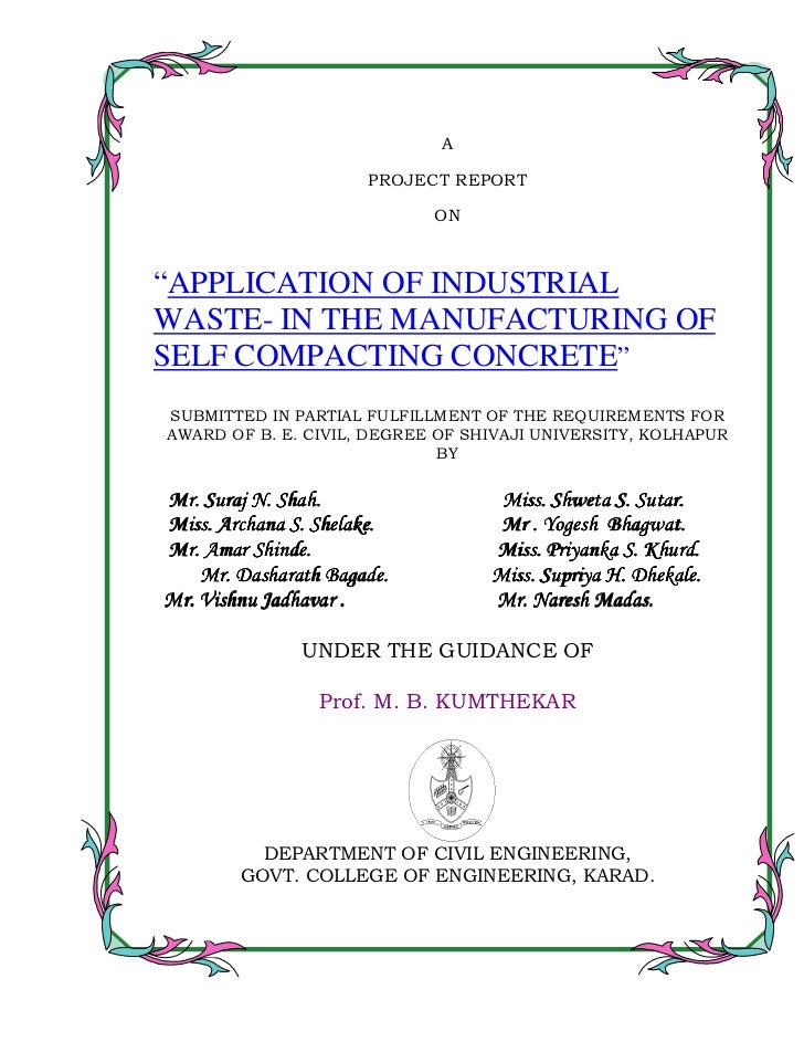 "A                      PROJECT REPORT                              ON""APPLICATION OF INDUSTRIALWASTE- IN THE MANUFACTURING..."