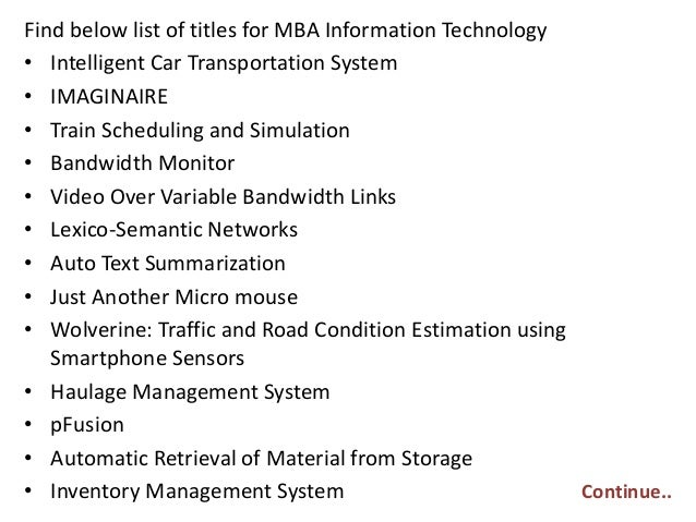 Hardware thesis proposal information technology