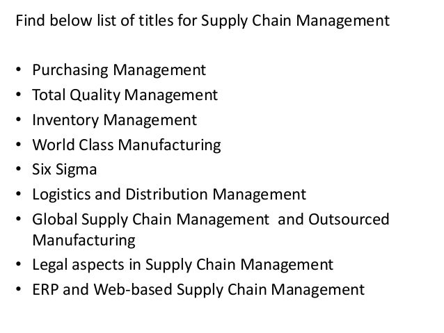 Dissertation reports supply chain management