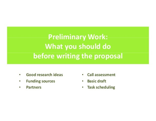 How to write good project proposals