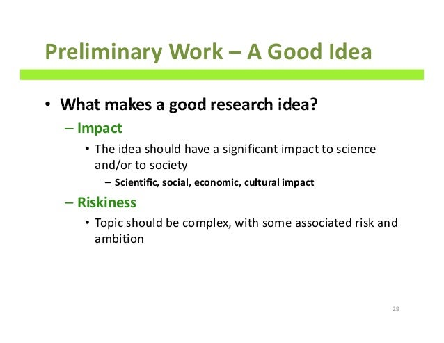 What purpose does preliminary research serve?