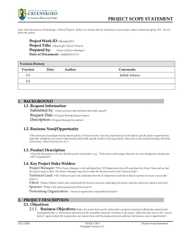 Sample Project Scope Statement Template Project Scope Statement Note bysVJQFy