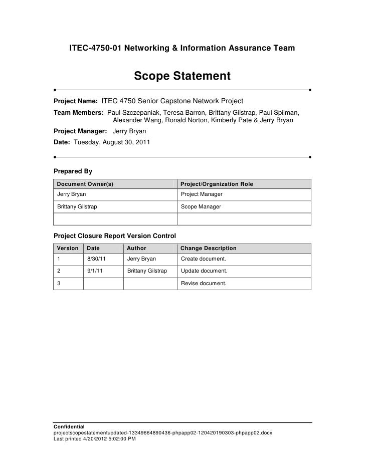 it project scope of work template - project scope statement