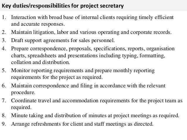 Secretary responsibilities resume