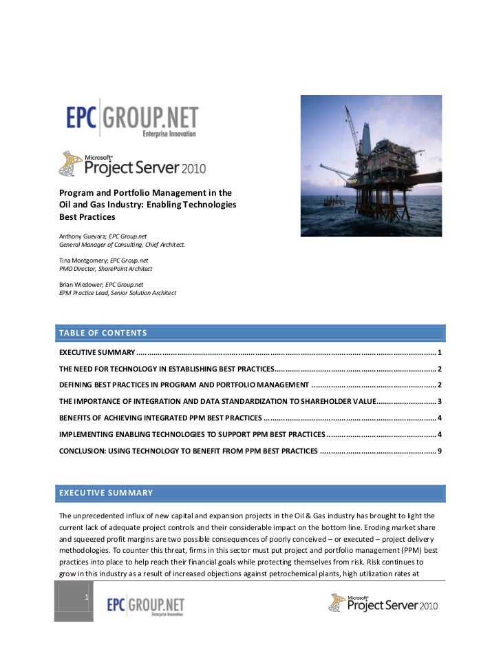 Project Server in the Oil and Gas Industry - Enabling Technologies Best Practices