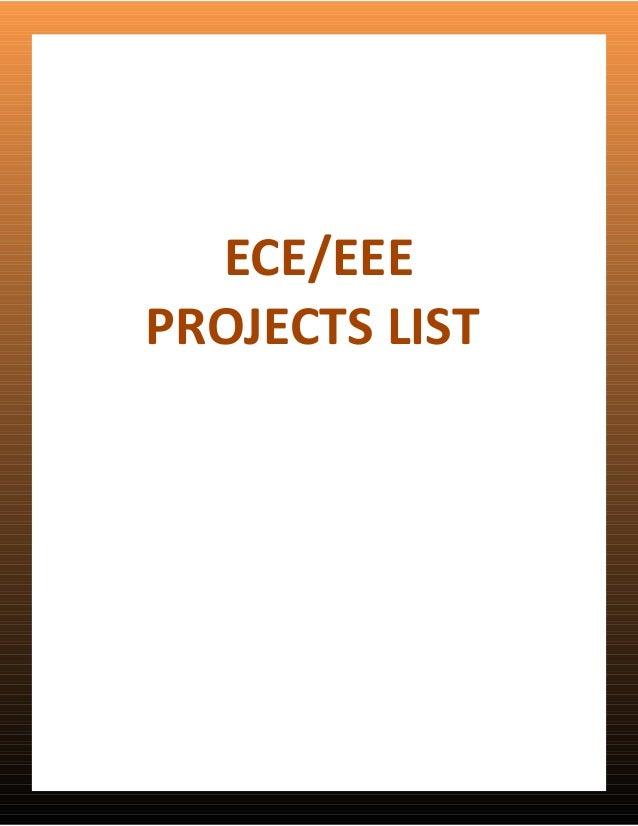 ECE/EEEPROJECTS LIST