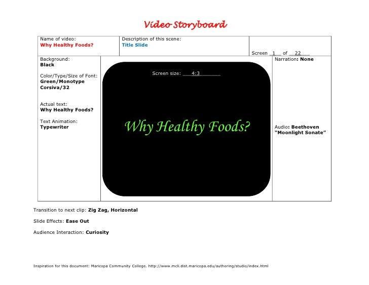 Video Storyboard    Name of video:                            Description of this scene:    Why Healthy Foods?            ...