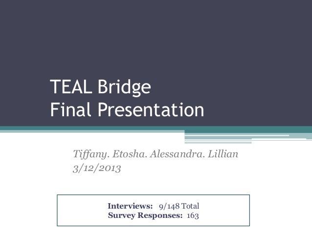 TEAL BridgeFinal Presentation  Tiffany. Etosha. Alessandra. Lillian  3/12/2013         Interviews: 9/148 Total         Sur...