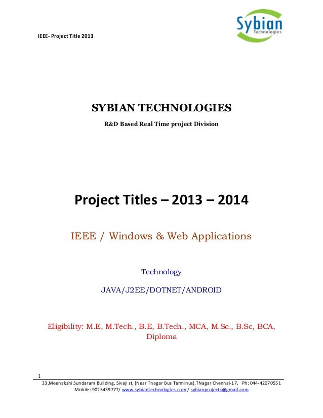 Final Year Project Titles 2013 2014