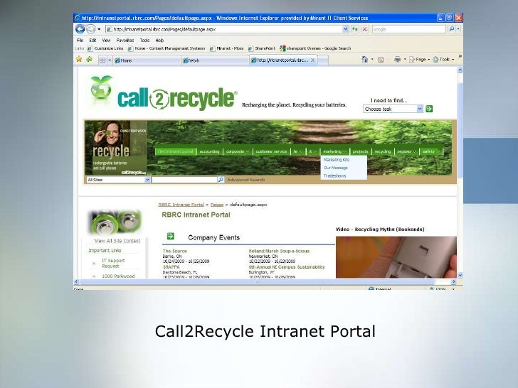 Call2Recycle Intranet Portal<br />