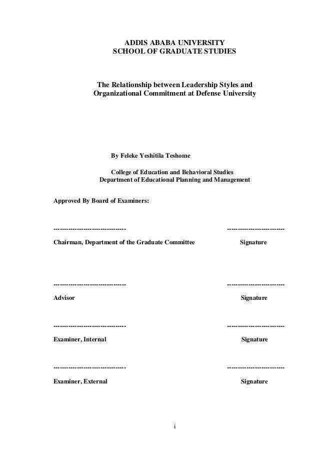Dissertation on leadership styles in education