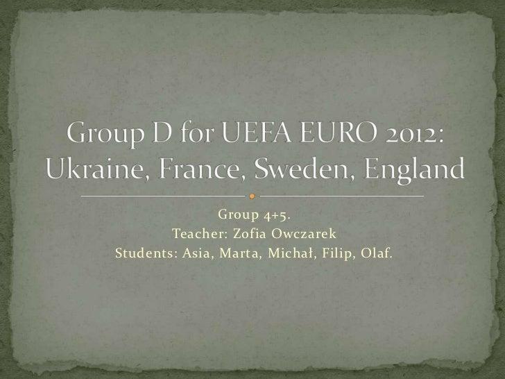 Group 4+5.        Teacher: Zofia OwczarekStudents: Asia, Marta, Michał, Filip, Olaf.
