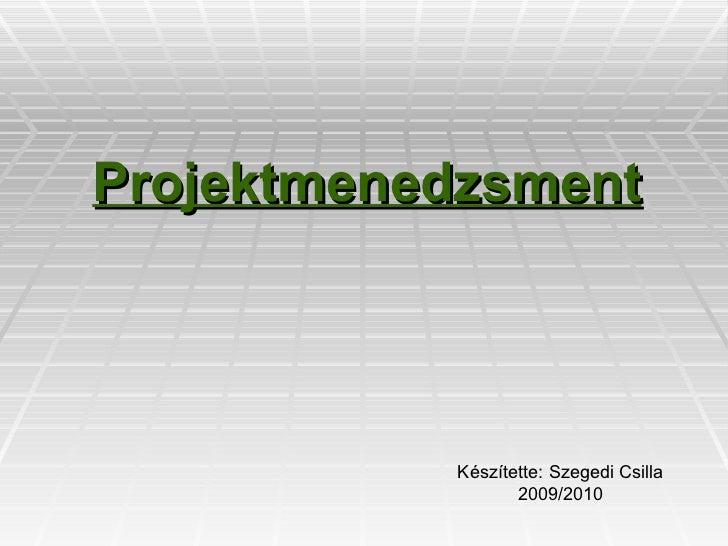 Projektmenedzsment Készítette: Szegedi Csilla 2009/2010
